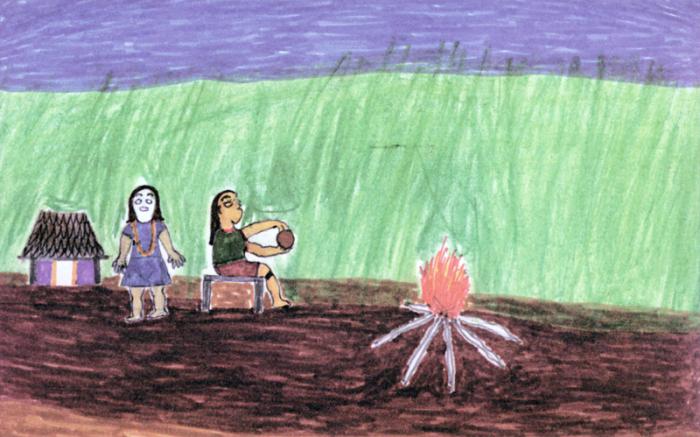 Desenho de Moreajup Kaiabi. Fonte: Aprendendo Português nas escolas do Xingu (livro 2). Instituto Socioambiental (ISA), Associação Terra Indígena do Xingu (ATIX), 2005.