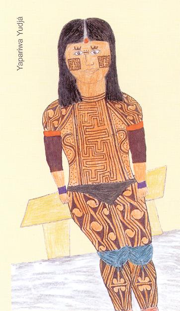 Desenho de Yapariwa Yudjá. Fonte: Saúde, Nutrição e Cultura no Xingu. Instituto Socioambiental (ISA), Associação Terra Indígena do Xingu (ATIX)e Imprensa Oficial, 2004.