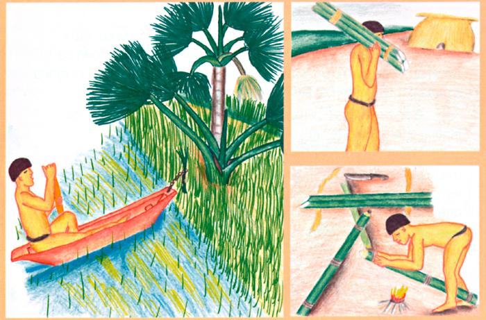 Homem em busca de ramos de buriti para fazer flautas. Desenhos de Maiua Ikpeng. Fonte: Ecologia, Economia e Cultura (livro 1). Instituto Socioambiental (ISA), Associação Terra Indígena do Xingu (ATIX), 2005.