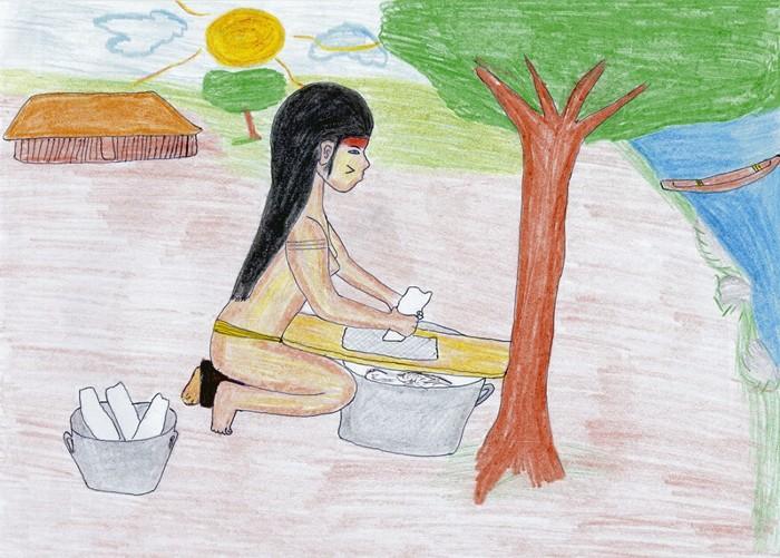 Desenho de Pepotxi Suiá. Fonte: Saúde, Nutrição e Cultura no Xingu. ISA/ATIX /Imprensa Oficial, 2004.