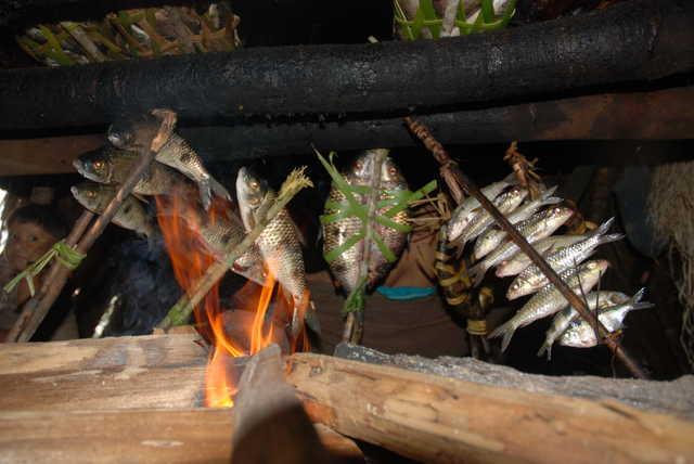 Peixes assando. Terra Indígena Enawenê-Nawê, Mato Grosso. Foto: Vincent Carelli, 2009.