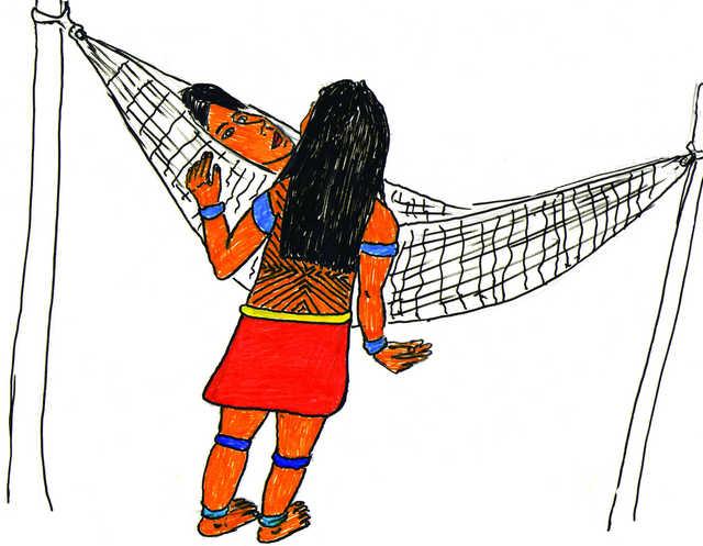 Resguardo da moça. Ilustração: Jawaruwa Wajãpi.