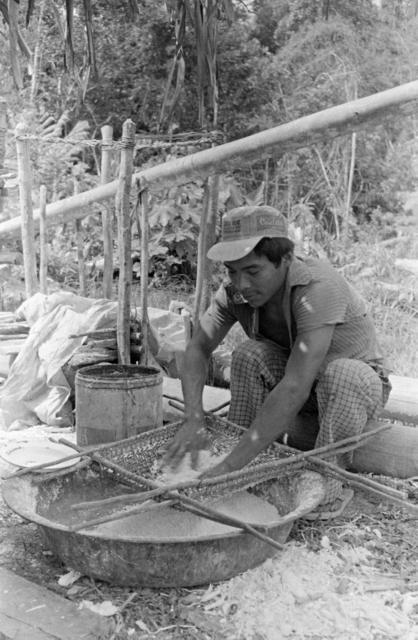 Índio Kaxarari espremendo a massa de mandioca para fazer o beiju, Rio Azul, Terra Indígena Kaxarari. Foto: Terri Vale de Aquino, 1981