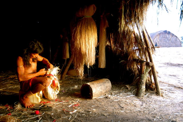 Enawene Nawe man making an adornment for a ritual, Enawene Nawe Indigenous Territory, Mato Grosso. Photo: Vincent Carelli , 2009