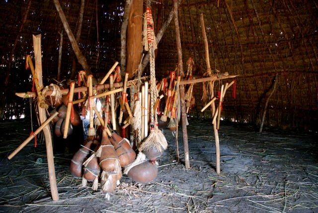 Objects used in Enawene Nawe rituals, Enawene Nawe Indigenous Territory, Mato Grosso. Photo: Vincent Carelli, 2009