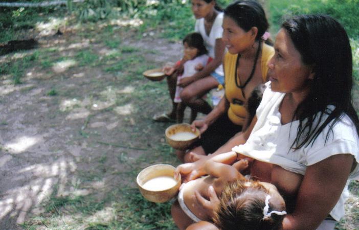 Mulheres bebendo Chicha. Aldeia Ricardo Franco, Terra Indígena Rio Guaporé. Foto: Nicole Soares Pinto, 2008