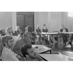 Márcio Santilli, Sérgio Mauro (Sema) Santos Filho e Fernando Gabeira, Seminário Interno realizado pelo Instituto Socioambiental (ISA), com convidados para discutir perspectivas para a nova legislação sobre Unidades de Conservação, a partir de experiências concretas de conservação sob a ótica socioambiental, São Paulo. 1996  / © Acervo ISA