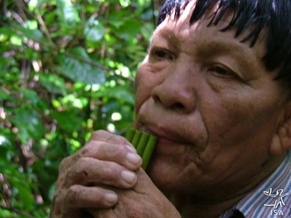 Flauta de taquara improvisada por Maiúta Naruvotu, Terra Indígena Pequizal do Naruvotu, Mato Grosso. Foto: Emerson Guerra, 2005