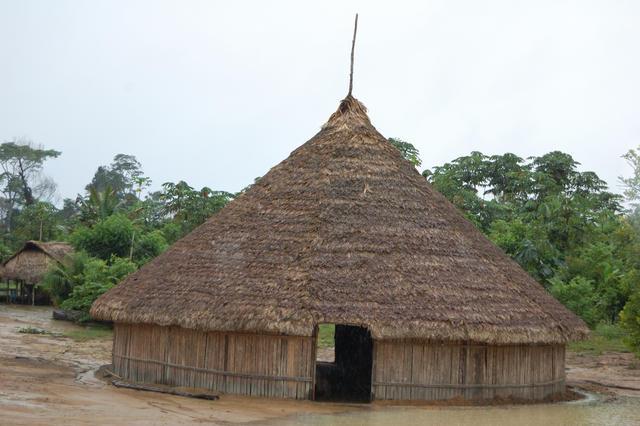 Habitação dos Hixkaryana, aldeia Torre, Terra Indígena Nhamundá/Mapuera, Amazonas. Foto: Ruben Caixeta, 2010