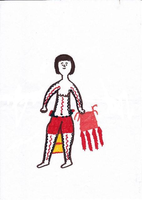 A menina pintada para os dias de festa. Desenho de Dyimayanici (fevereiro 2014)