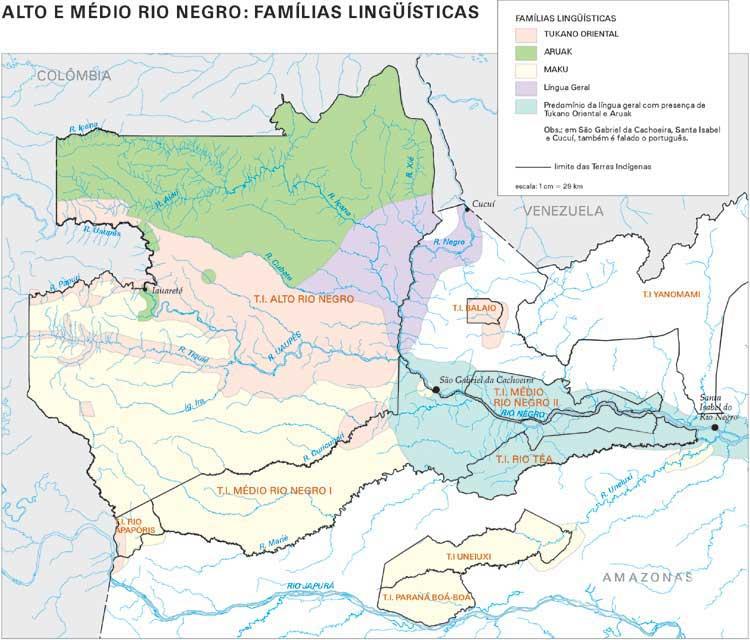 O mapa ao lado é uma representação da diversidade lingüística do Médio e Alto Rio Negro que apresenta as mesmas ressalvas do mapa apresentado no item Localização e população: muitos povoados são ocupados por várias etnias, que algumas vezes utilizam não s